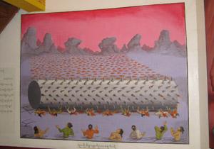 ミャンマー、仏教の教えを描いた絵